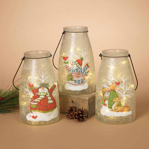 "10""H Battery Operated Lighted Frosted Glass Jar"