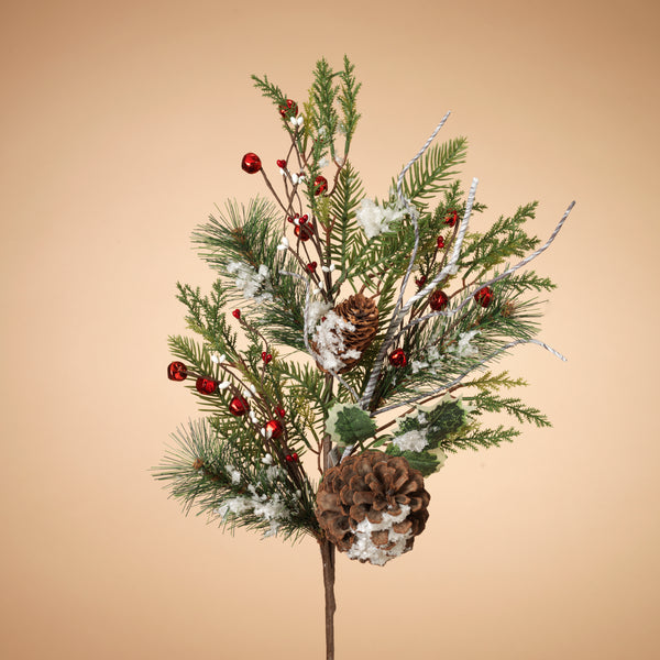 "30""H Holiday Frosted Pine and Pinecone Berry with Metal Bell and Berry"