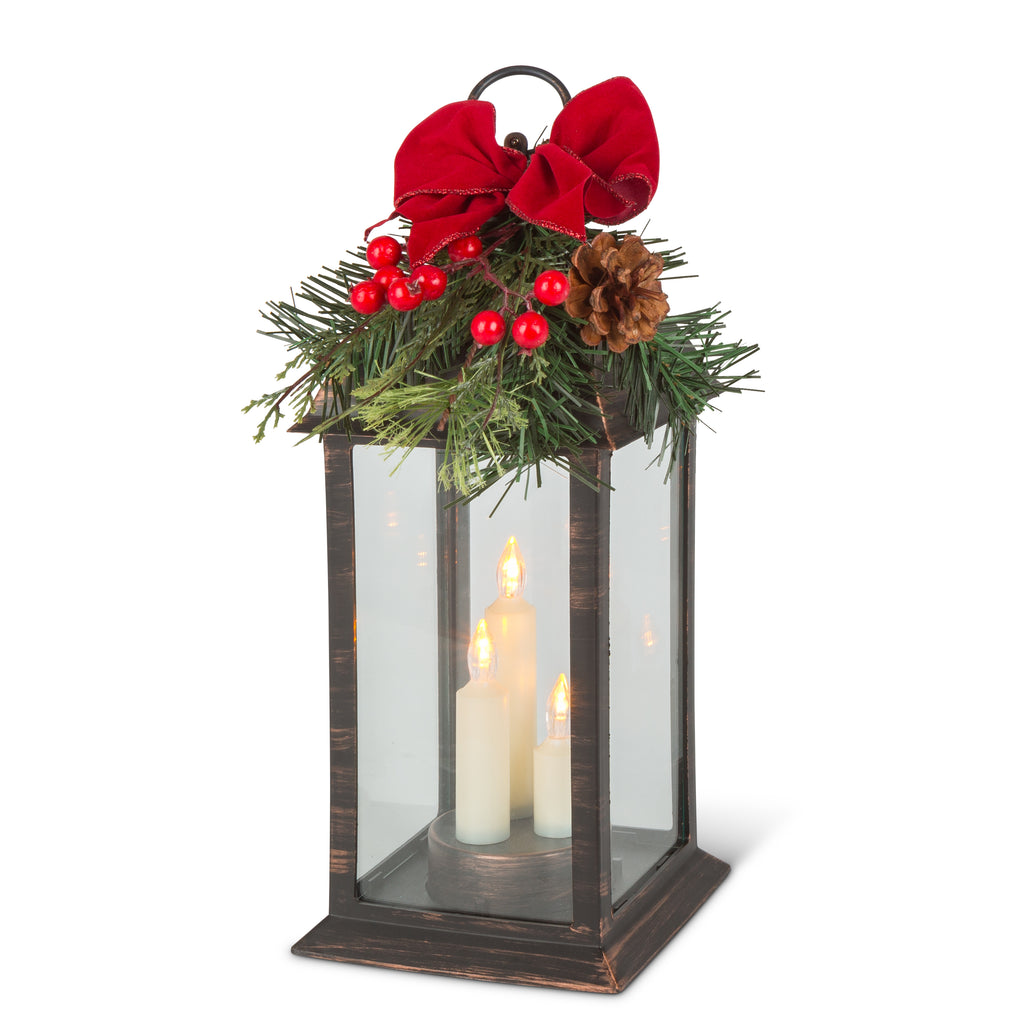 "12.6"" Battery Operated Plastic Lantern with Glass"