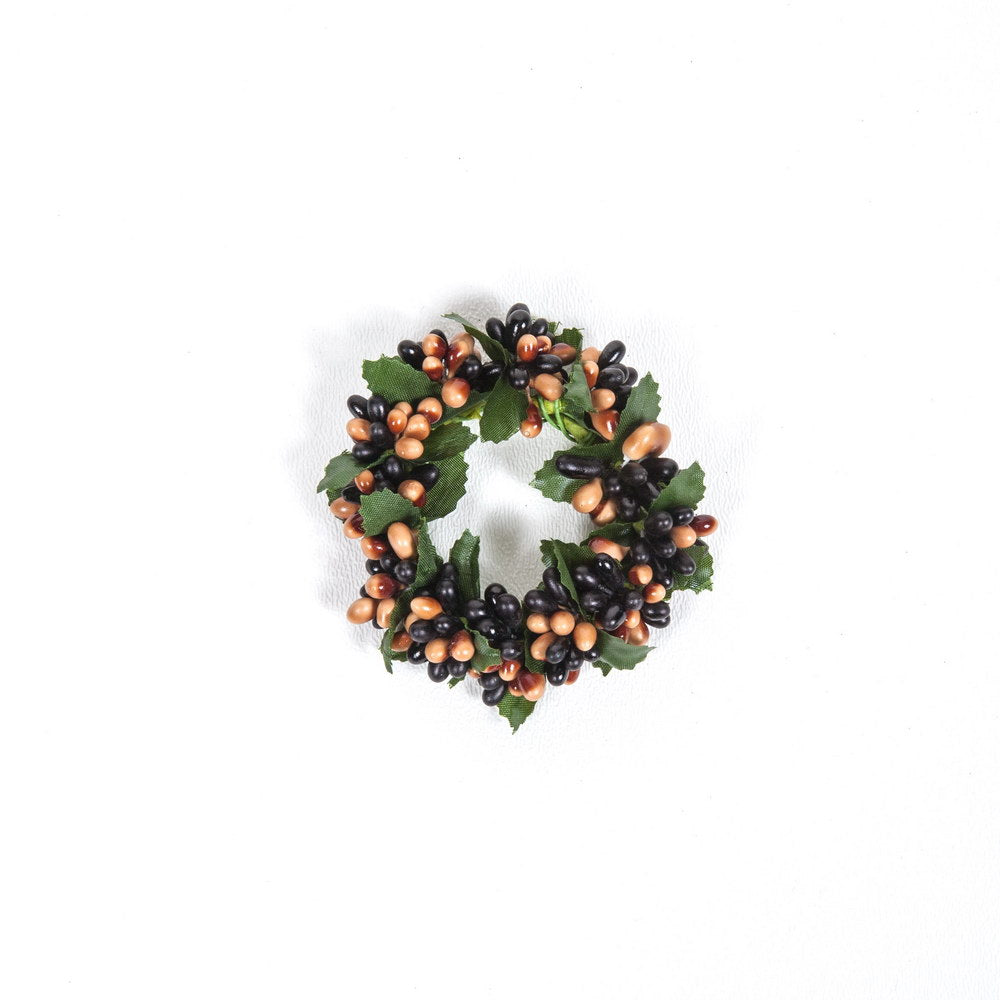Small Rice Berry Candle Ring Black, Tan