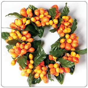 Small Rice Berry Candle Ring Orange, Yellow
