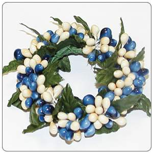 Small Rice Berry Candle Ring Williamsburg Blue, Cream