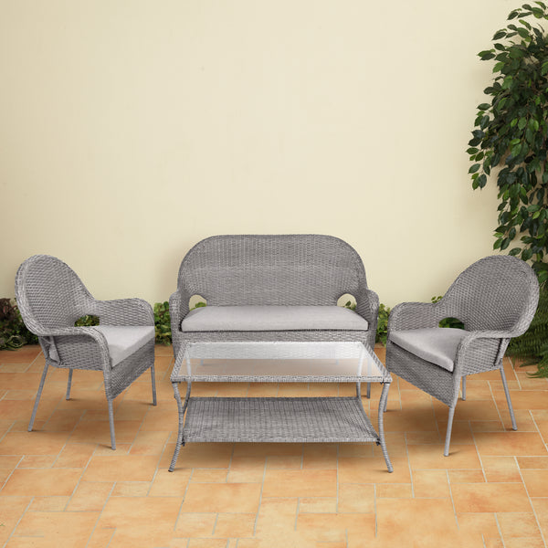 7-Pc Gray Resin Wicker Steel Frame Furniture Set with Cushions