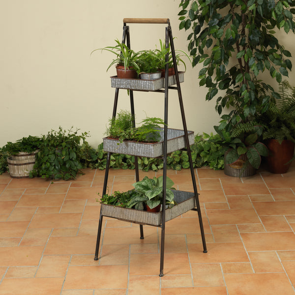 "47.5""H Metal Plant Stand with 3 Shelves"
