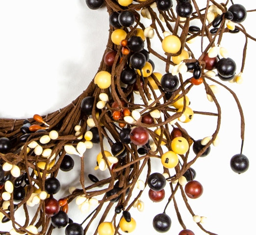 Large Mixed Berry Wreath Burnt Red, Black, Butter