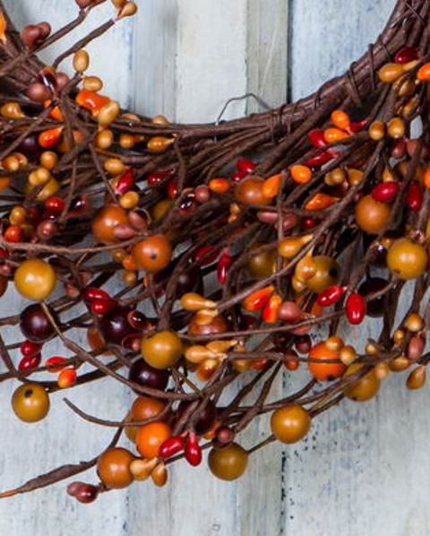 Sunset Orange Medium Mixed Berry Wreath