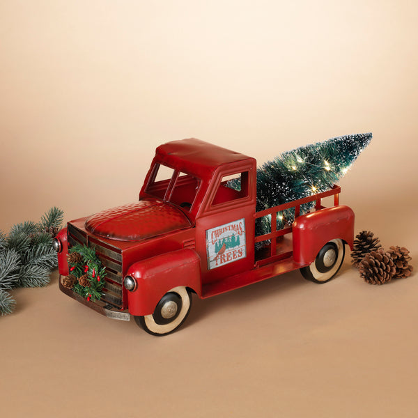 Metal Truck with Magnet Sign, Wreath & Lighted Christmas Tree