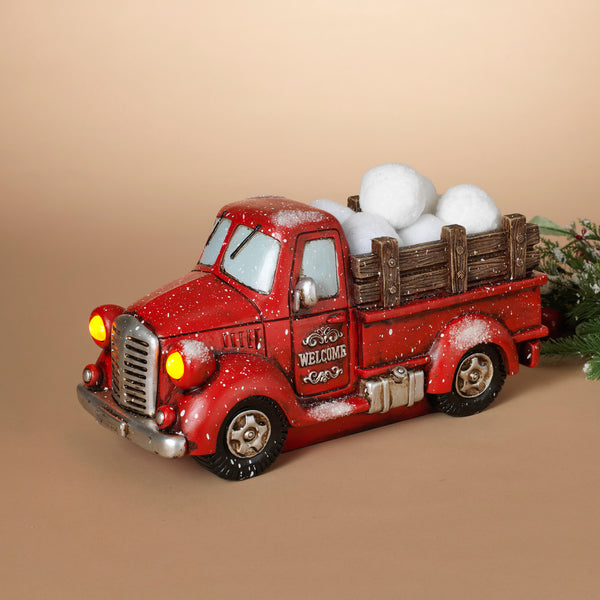 "15.1""L B/O Lighted Resin Holiday Truck"