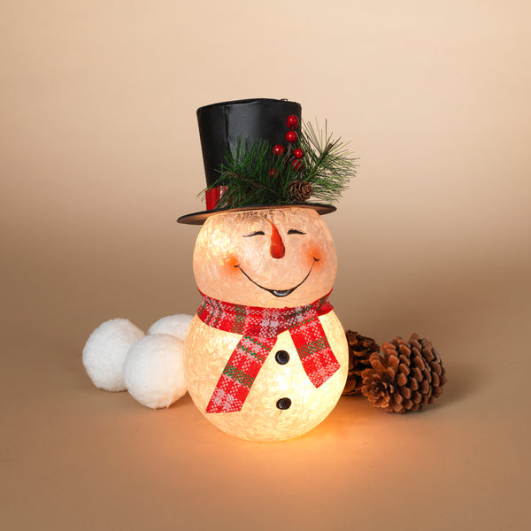 "10""H UL Electric Lighted Metal and Frosted Glass Snowman Figurine"