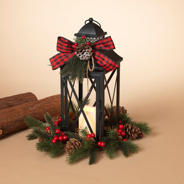 "16""H Battery Operated Lighted Metal Holiday Lantern"