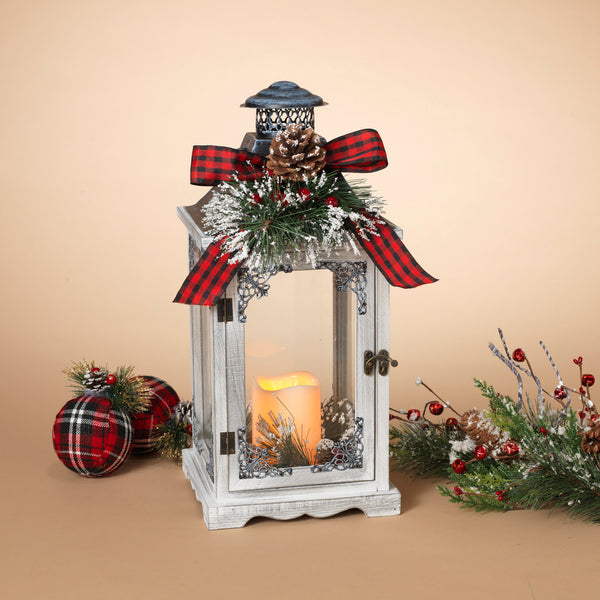 "17.5""L Battery Operated Lighted Wood Holiday Lantern"