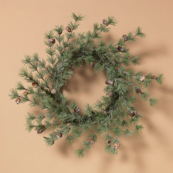 "24""D Ming Pine Wreath with Pinecones"