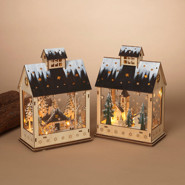 "11.5""H Lighted Wood House"