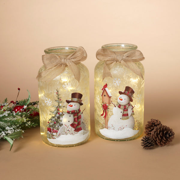 "10.2""H Ltd Frosted Glass Snow Jar"