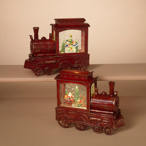 Lighted Spinning Water Globe Train with Holiday Scene