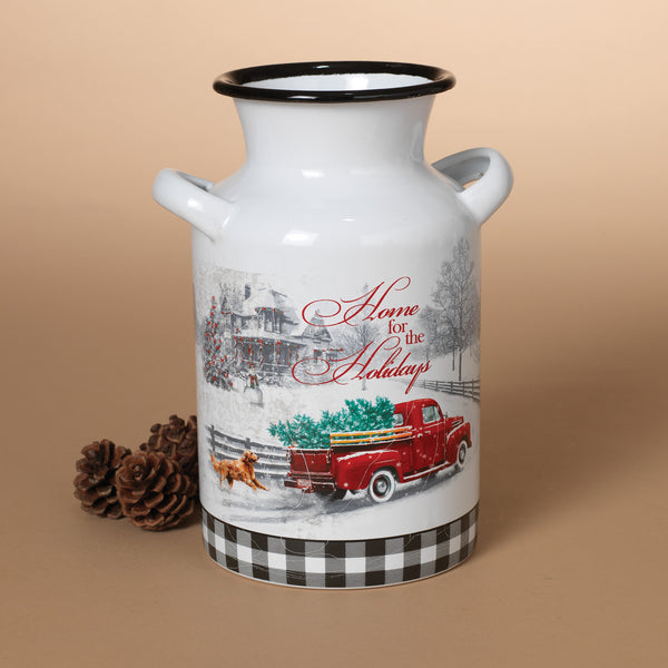 """Home for the Holidays"" Design Decorative Milk Can"