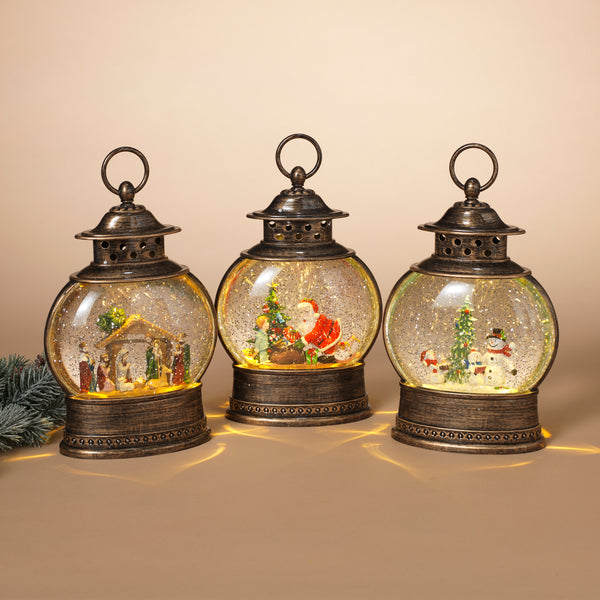 "11"" B/O Lighted Spinning Water Globe Lantern w/ Holiday Scene & Timer, 3 Asst"