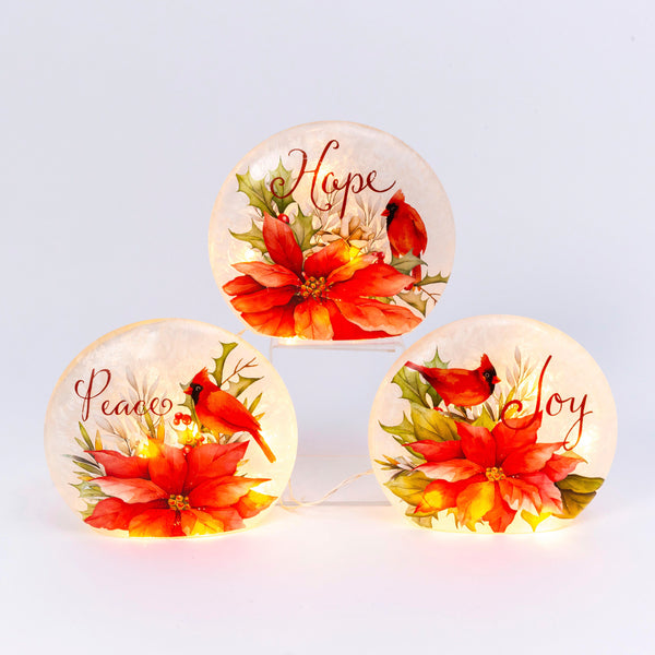 "9.1""H Electric Frosted Glass Poinsettia & Cardinal Luminary, 3 Asst"
