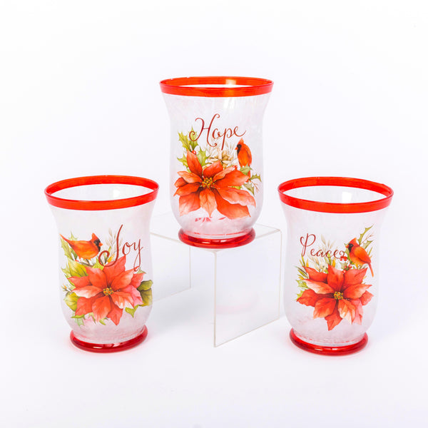 "7.9""H Frosted Glass Poinsettia & Cardinal Design Hurricane Candle Holder, 3 Asst"