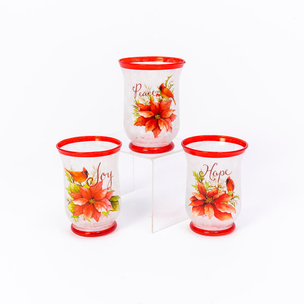 "5.9""H Frosted Glass Poinsettia & Cardinal Design Hurricane Candle Holder, 3 Asst"