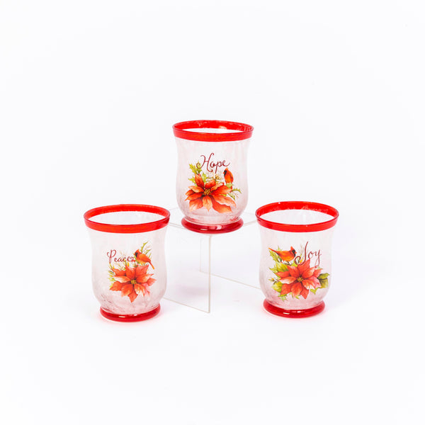 "4.3""H Frosted Glass Poinsettia & Cardinal Design Hurricane Candle Holder, 3 Asst"