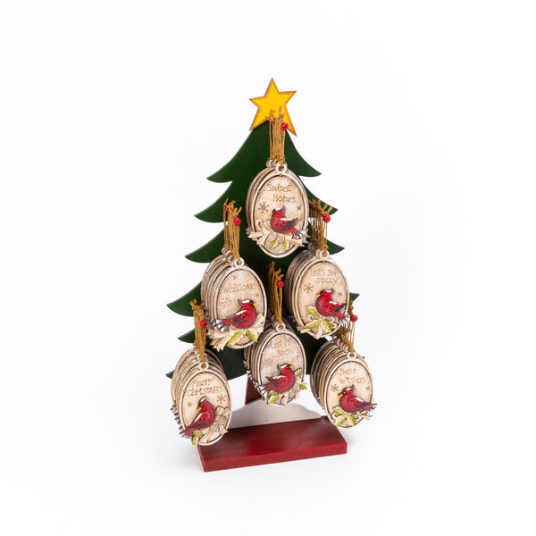 "4.6""H Wood Holiday Cardinal Ornament w/ Wooden Tree Display, 6 Asst"