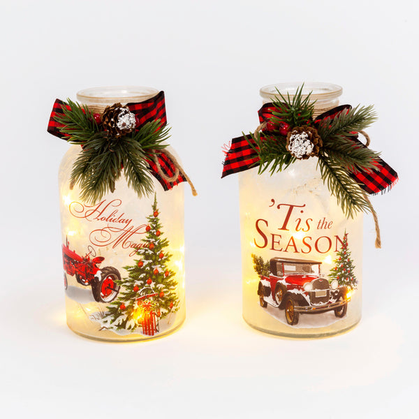 "7.9""H B/O Lighted Frosted Glass Holiday Design Luminary w/ Floral Accent, 2 Asst"