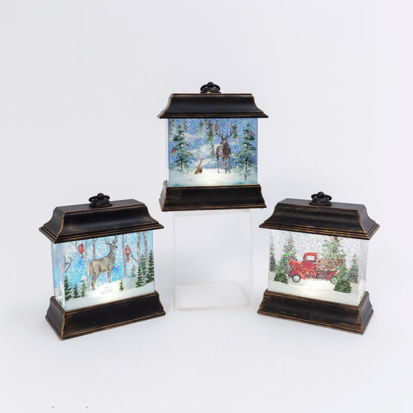 "10.5""H B/O Lighted Spinning Water Globe Lantern w/ Holiday Design, 3 Asst"