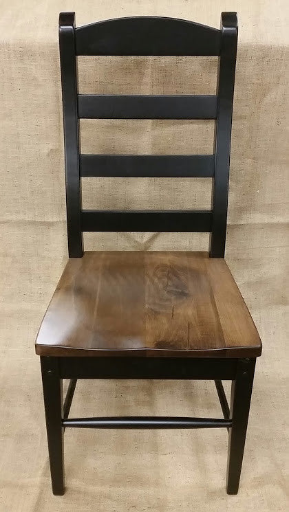 Black Ladder Back Chair with a Special Walnut Seat