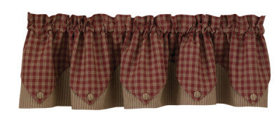 "Sturbridge 72"" x 15"" Lined Point Valance - Wine"