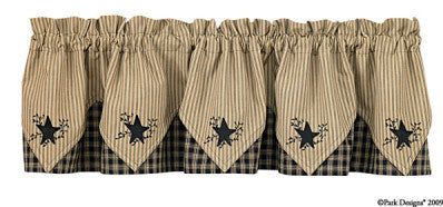 "Sturbridge Star 72"" x 15"" Embroidered Point Valance - Black"
