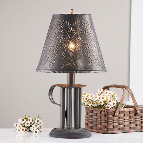 Round Candle Mold Lamp with Willow Shade in Blackened Tin