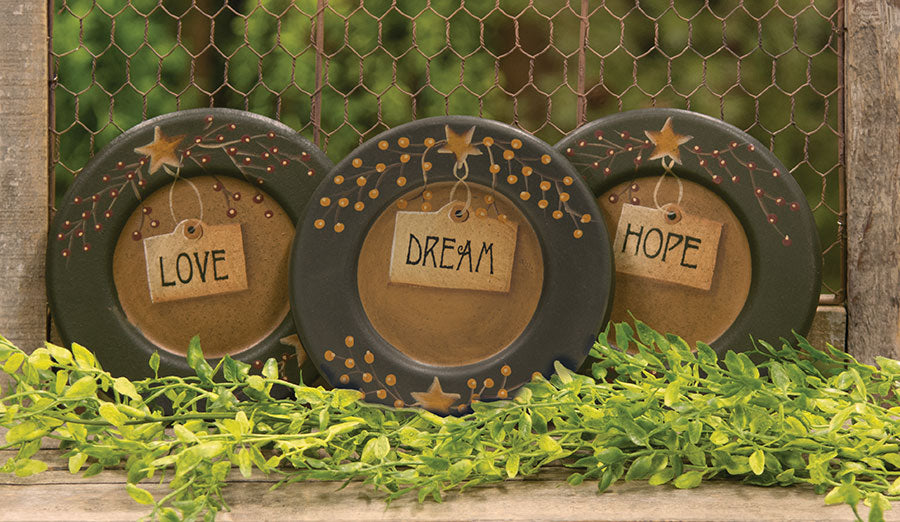 Love, Dream, Hope Plates