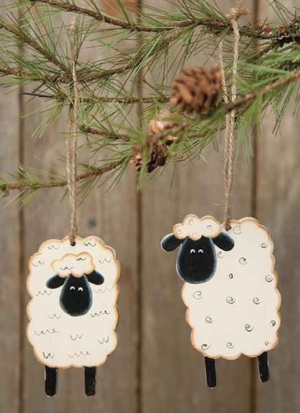 Sheep Ornament w/hanger-4 bag