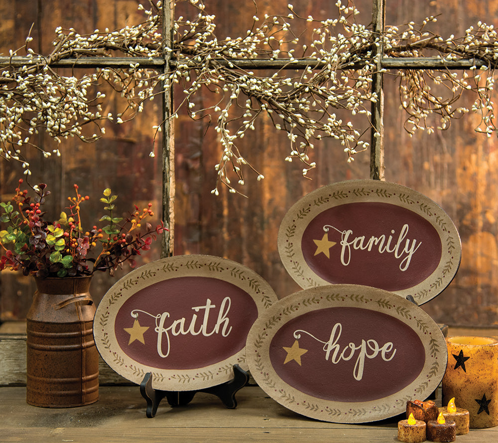 Faith, Family, Hope Oval Plates-3 Assorted