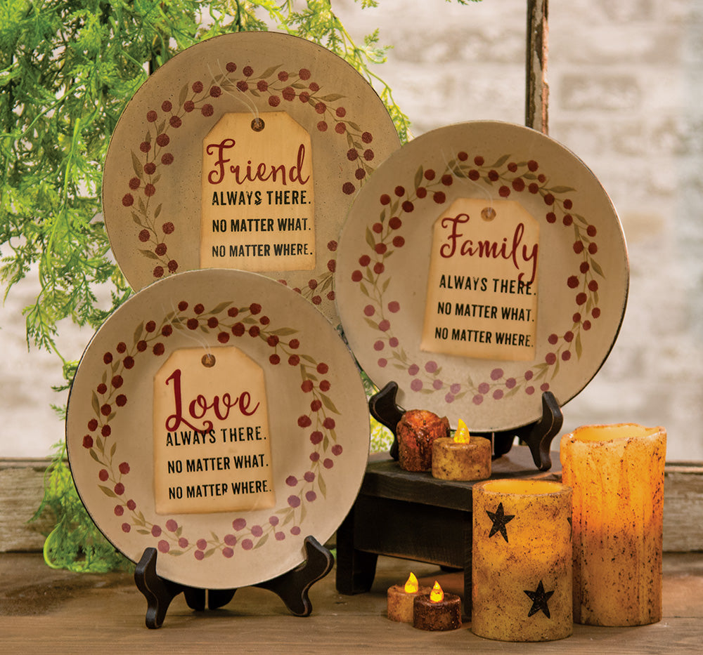 Love, Friend, Family Tag Plate-3 Assorted