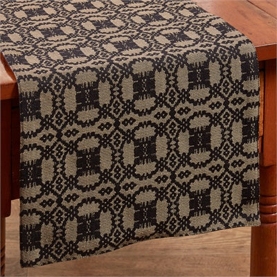 Campbell Coverlet Table Runner - Black