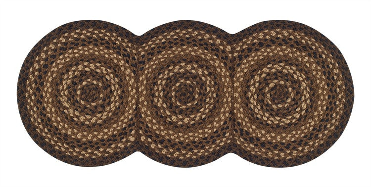 "Shades of Brown 15"" x 34"" Braided Table Runner"