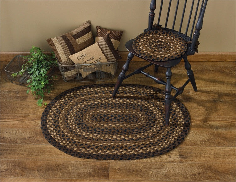 "Shades of Brown 32"" x 42"" Oval Braided Rug"