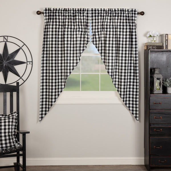 Annie Buffalo Black check Prairie Swags Short Panel Curtain Set