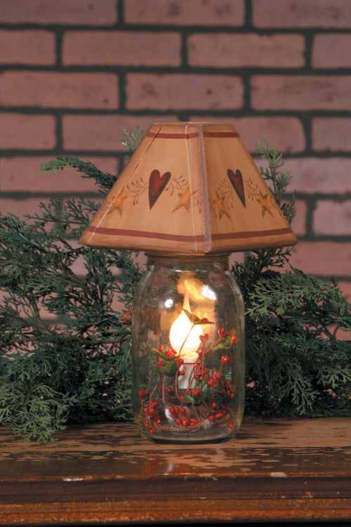 Electric Jar Light - Star Heart, Red Berries