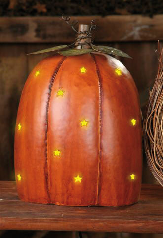 Pumpkin Electric Light - Punched Tin Stars
