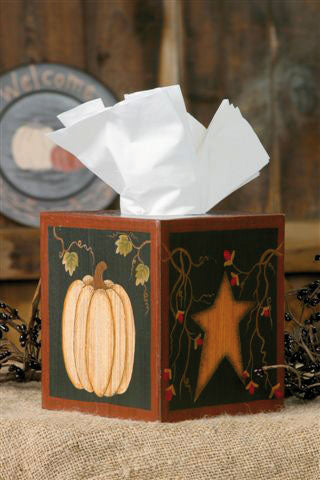 Autumn Welcome Tissue Box Cover - Pumpkin with Star