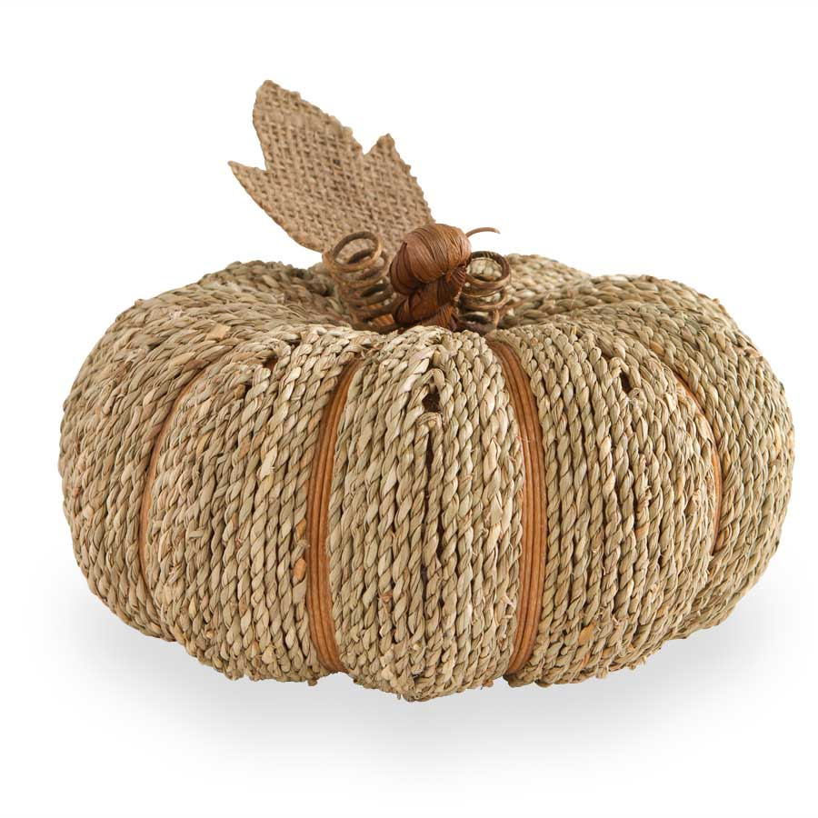 "8.5"" Sea Grass Natural Twine Pumpkin with Burlap Leaf"