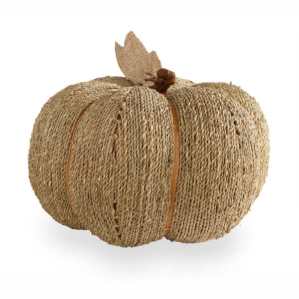 "11"" Sea Grass Natural Twine Pumpkin with Burlap Leaf"