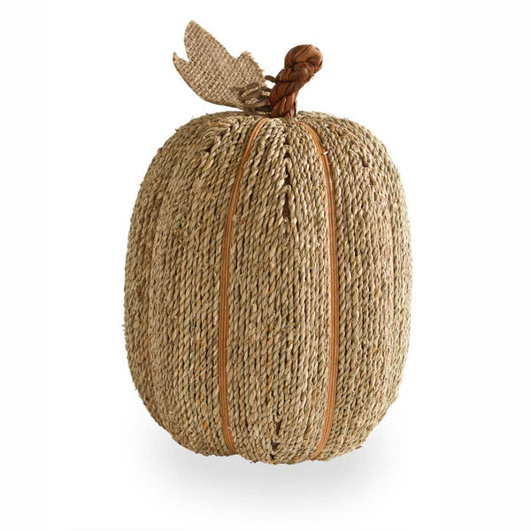 "12"" Sea Grass Natural Twine Pumpkin with Burlap Leaf"