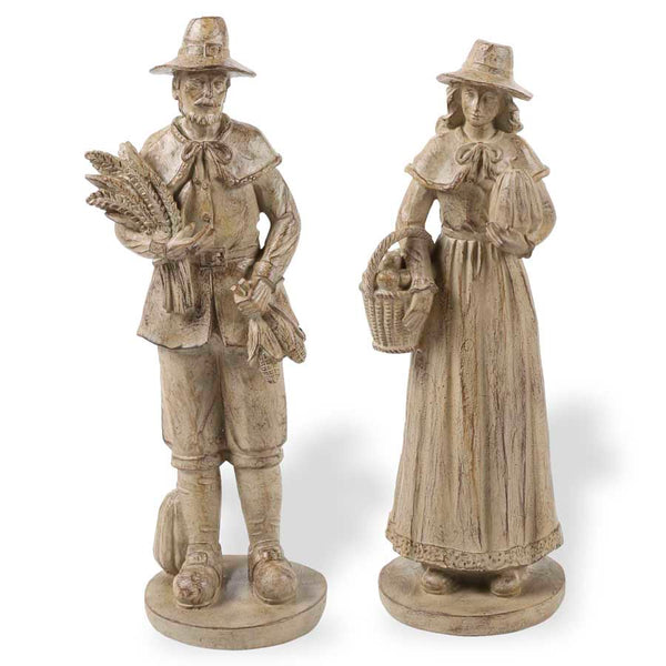 "14"" Resin Pilgrim Man and Woman"