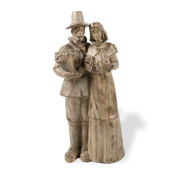 "18.5"" Resin Pilgrim Man and Woman"