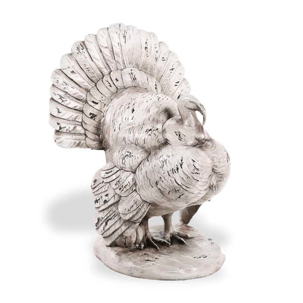 12 Inch White Resin Standing Turkey On Oval Base