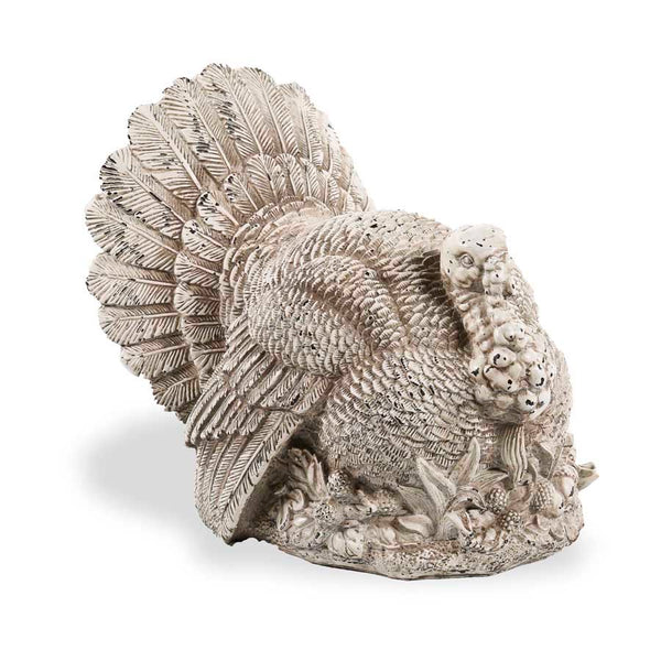 10 Inch White Resin Sitting Turkey On Corn and Leaf Base